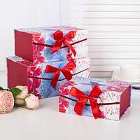 Набор коробок 3 в 1 на магните, красный, 19 х 14 х 8 - 25 х 18 х 12 см
