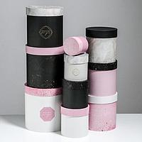 Набор подарочных круглых коробок 10 в 1 'Мрамор' 10 х 10 - 25 х 25 см