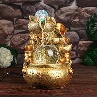 Фонтан настольный от сети, подсветка 'Слитки и монеты' золото 26х18х17 см
