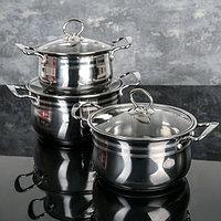 Набор посуды, 3 шт кастрюли 18/20/22 см, стеклянные крышки, капсульное дно, индукция