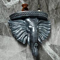Консоль 'Индийский Слон', состаренное серебро, 40 х 38 см
