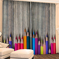 Фотошторы 'Цветные карандаши' 145х260 см 2шт, габардин 160гр/м2, пэ100