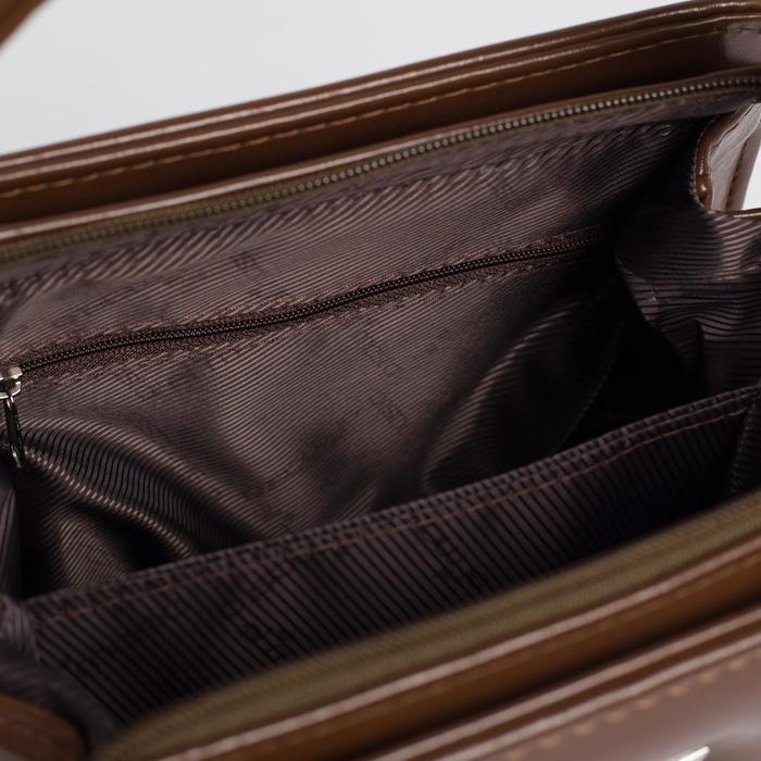 Сумка женская, отдел на молнии, наружный карман, длинный ремень, цвет коричневый - фото 3