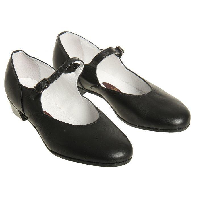 Туфли народные женские, длина по стельке 22 см, цвет чёрный - фото 1