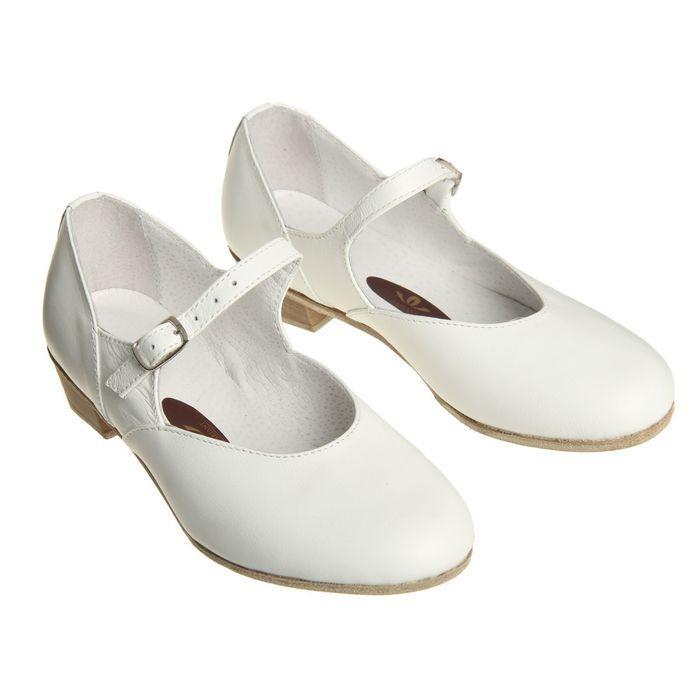 Туфли народные женские, длина по стельке 22 см, цвет белый - фото 1