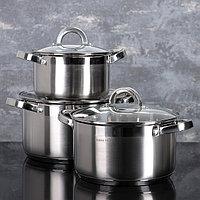 Набор посуды 'Меди', 3 предмета кастрюли 5,1 л /4,2 л/2,9 л, стеклянные крышки