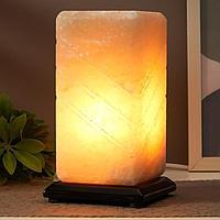 Соляной светильник с диммером 'Пятый элемент' Е14 15Вт 2-3 кг белая соль 10х10х20 см