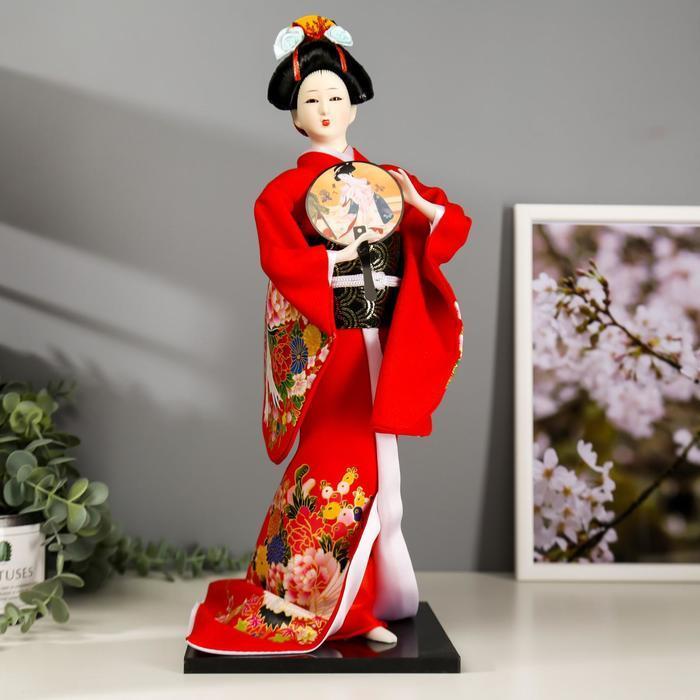 Кукла коллекционная 'Гейша в красном кимоно с опахалом' 42х16,5х16,5 см - фото 1