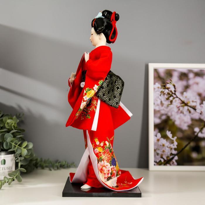 Кукла коллекционная 'Гейша в красном кимоно с опахалом' 42х16,5х16,5 см - фото 3