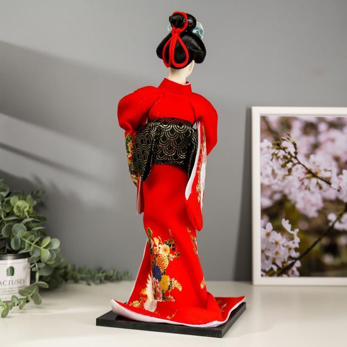 Кукла коллекционная 'Гейша в красном кимоно с опахалом' 42х16,5х16,5 см - фото 4