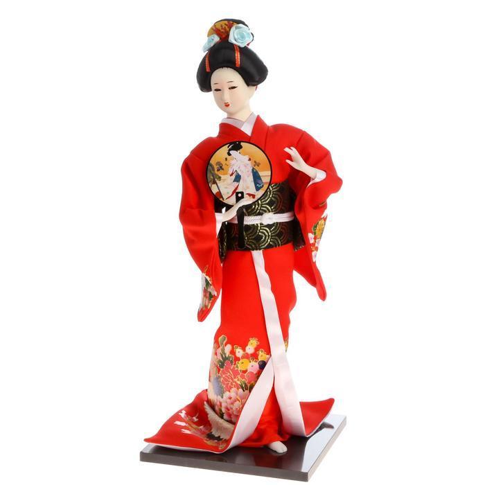 Кукла коллекционная 'Гейша в красном кимоно с опахалом' 42х16,5х16,5 см - фото 5