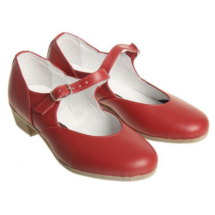 Туфли народные женские, длина по стельке 22 см, цвет красный - фото 1