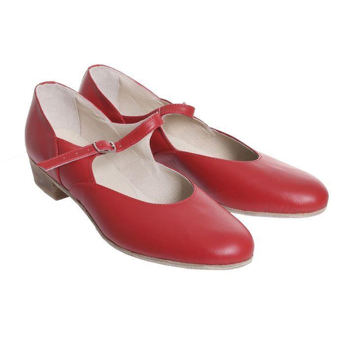 Туфли народные женские, длина по стельке 26 см, цвет красный - фото 1