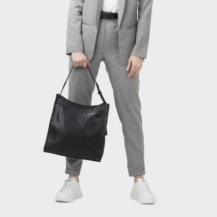 Сумка женская, отдел на молнии, наружный карман, цвет чёрный - фото 4