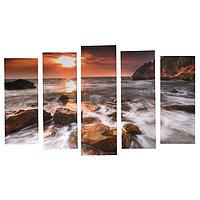 Картина модульная на подрамнике 'Небо. Море. Камни.' (2-25х63 2-25х70 1-25х80) 125х80см