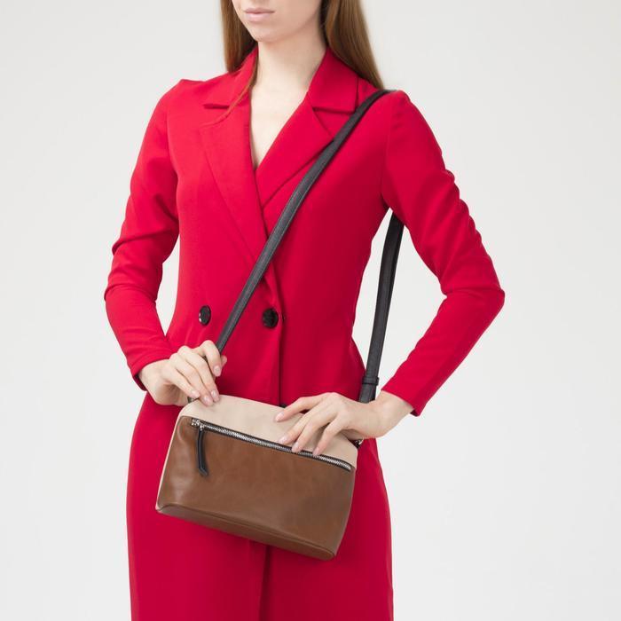 Сумка женская, отдел на молнии, наружный карман, длинный ремень, цвет коричневый - фото 4
