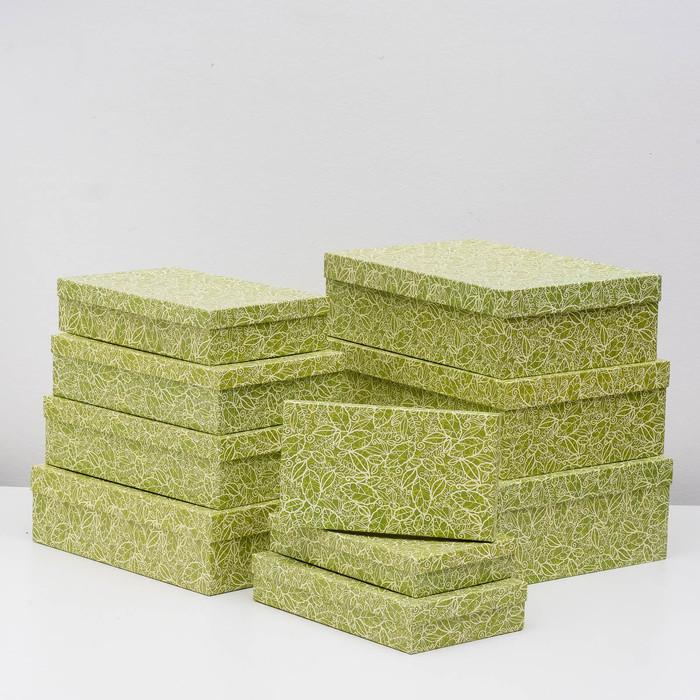 Набор коробок 10 в 1 'Кружевная листва зеленая' МИКС 36,5 х 26,5 х 12 - 23 х 13 х 3 см - фото 1