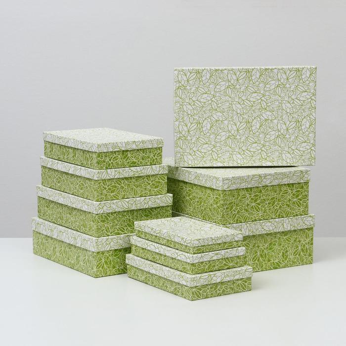 Набор коробок 10 в 1 'Кружевная листва зеленая' МИКС 36,5 х 26,5 х 12 - 23 х 13 х 3 см - фото 3