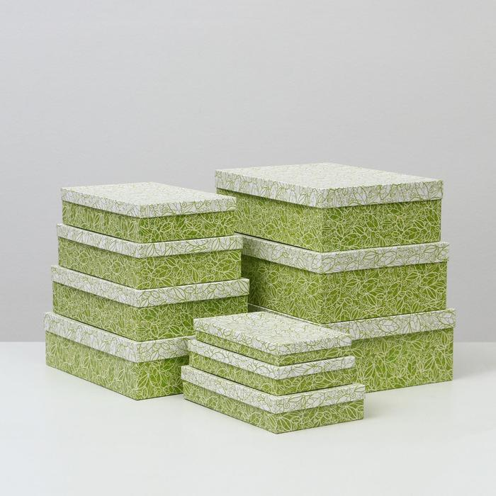 Набор коробок 10 в 1 'Кружевная листва зеленая' МИКС 36,5 х 26,5 х 12 - 23 х 13 х 3 см - фото 4