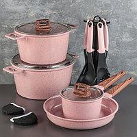 Набор посуды 'Пинк', 4 предмета кастрюли 8/6 л ,сковорода 30x4,5 см, ковш 2 л, набор приборов