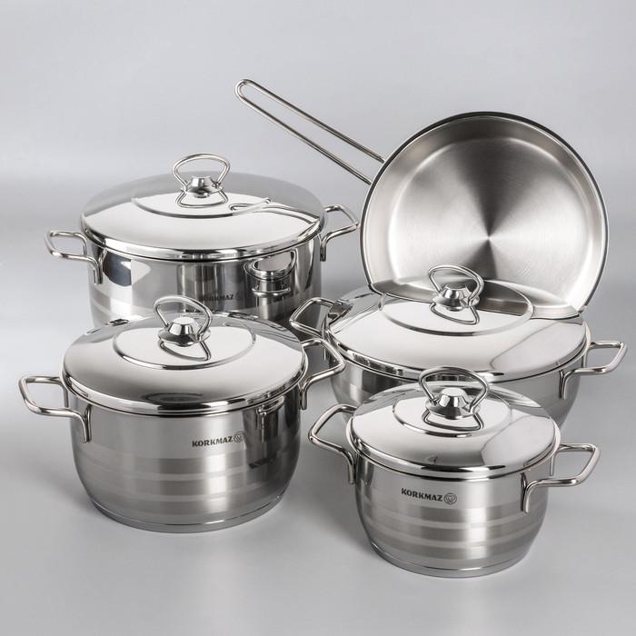 Набор посуды Korkmaz Astra, 5 предметов кастрюля 2/3,7/6,3 л, жаровня 3,8 л, сковорода d24 см - фото 1