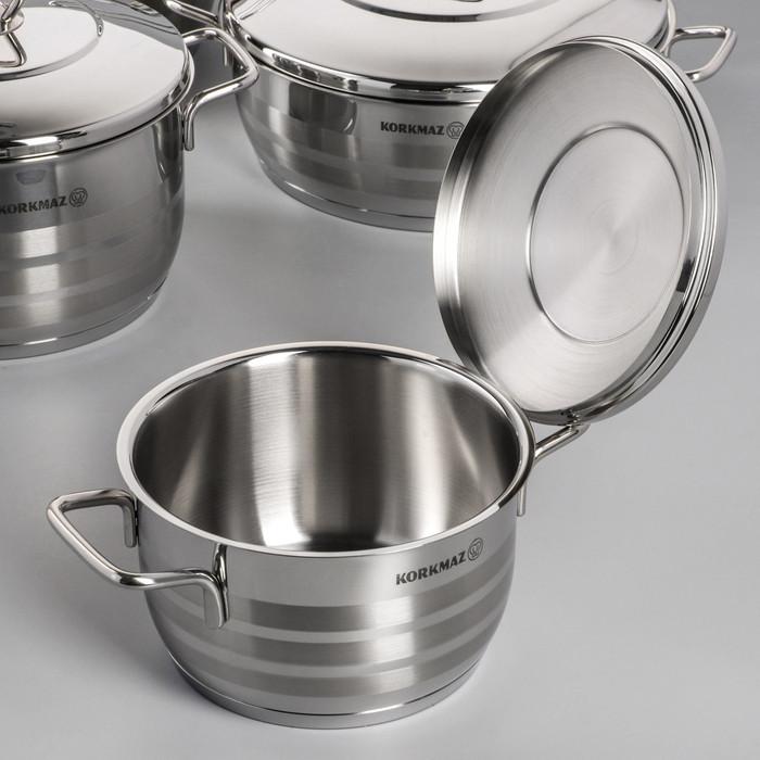 Набор посуды Korkmaz Astra, 5 предметов кастрюля 2/3,7/6,3 л, жаровня 3,8 л, сковорода d24 см - фото 2