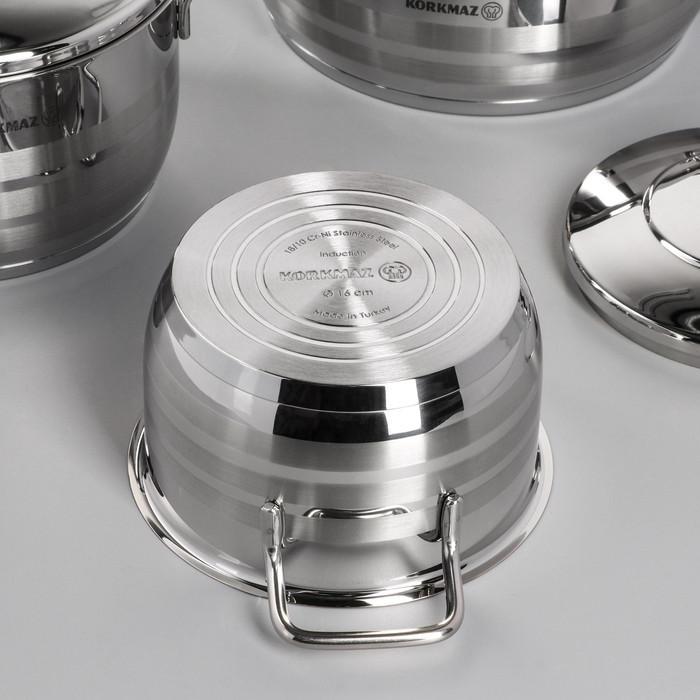 Набор посуды Korkmaz Astra, 5 предметов кастрюля 2/3,7/6,3 л, жаровня 3,8 л, сковорода d24 см - фото 3