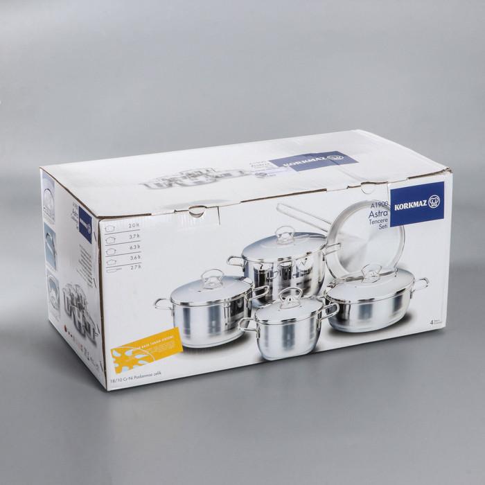 Набор посуды Korkmaz Astra, 5 предметов кастрюля 2/3,7/6,3 л, жаровня 3,8 л, сковорода d24 см - фото 4
