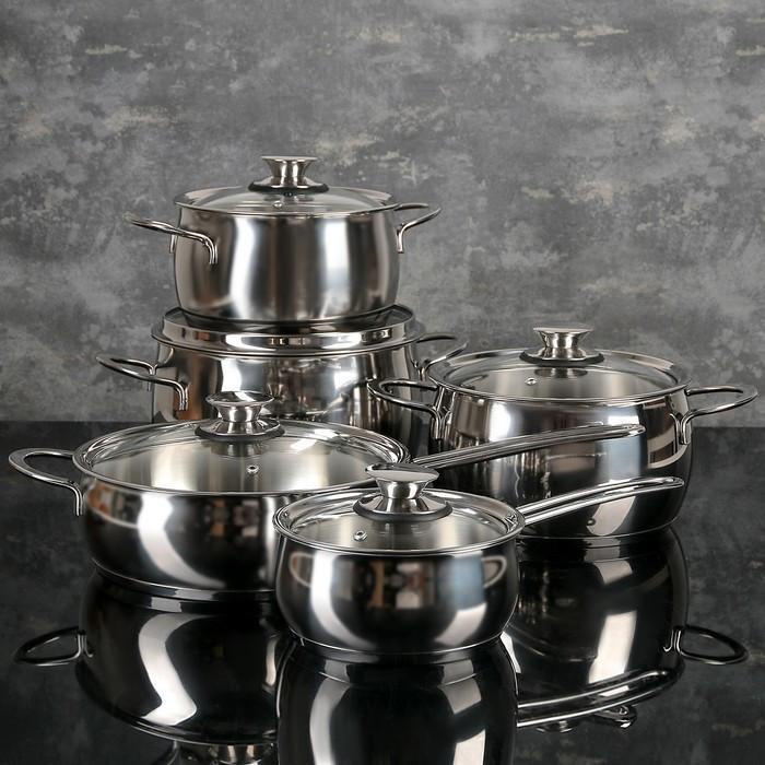 Набор посуды 'Магнолия. Престиж' 5 предметов кастрюли 2,5 л, 3,5 л, 4,5 л сковорода 3 л, ковш 1,2 л, - фото 1
