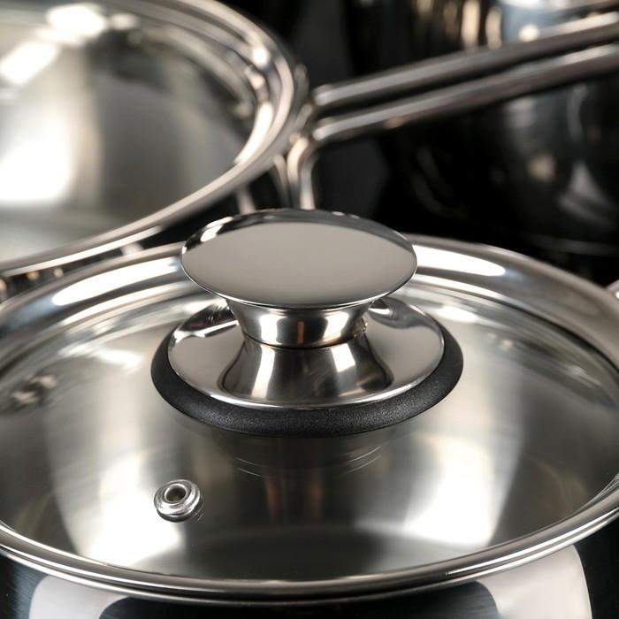 Набор посуды 'Магнолия. Престиж' 5 предметов кастрюли 2,5 л, 3,5 л, 4,5 л сковорода 3 л, ковш 1,2 л, - фото 2