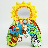 Развивающая подушка для малыша 'Зоо', с погремушками/зеркалом