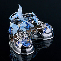Сувенир с кристаллами Swarovski 'Детские ботиночки' хром 7,7х6 см