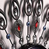 Часы настенные, серия Ажур, 'Павлиньи перья', разноцветные кристаллы, микс, d60 см
