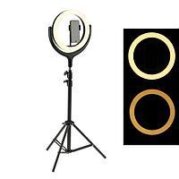 Светодиодная кольцевая лампа на штативе F539B, с триподом, лампа 26 см, выдвижной, чёрная