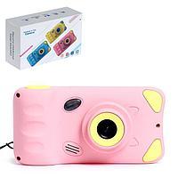Детский фотоаппарат 'Котик', дисплей 4,39 дюйма, цвет розовый