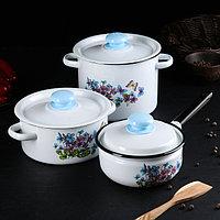 Набор посуды 'Фиалки', 3 предмета кастрюли 2 л, 3,5 л, ковш с крышкой 1,5 л