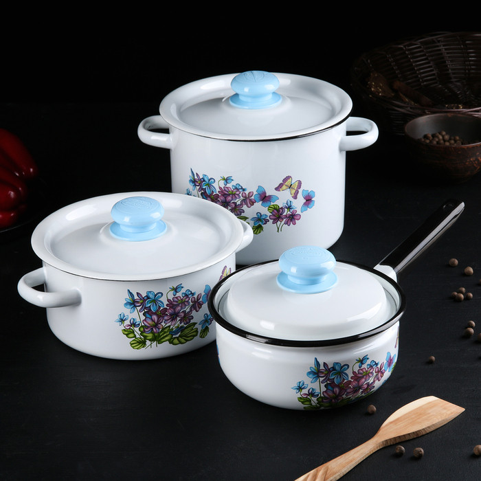 Набор посуды 'Фиалки', 3 предмета кастрюли 2 л, 3,5 л, ковш с крышкой 1,5 л - фото 1