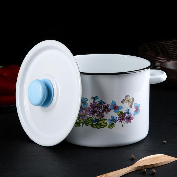 Набор посуды 'Фиалки', 3 предмета кастрюли 2 л, 3,5 л, ковш с крышкой 1,5 л - фото 2