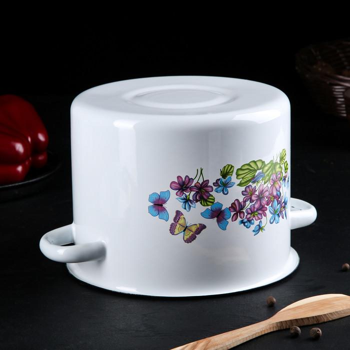 Набор посуды 'Фиалки', 3 предмета кастрюли 2 л, 3,5 л, ковш с крышкой 1,5 л - фото 3
