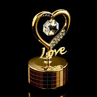 Музыкальный сувенир с кристаллами Swarovski 'Элегантное сердце' 9,2х5,1 см
