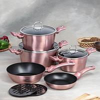 Набор посуды Berlinger Haus I-Rose Edition,10 предмета 3 кастрюли, 3 стеклянных крышки, 2 сковороды, 2