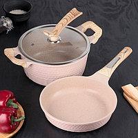 Набор посуды 'Прованс', сковорода 2 л 25x5,5 см, кастрюля 25 см, 3,6 л, стеклянная крышка, индукция
