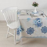 Клеёнка ажурная Lace 137x180 см, рулон 10 скатертей, цвет бело-голубой