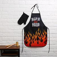 Большой кухонный набор 'С 23 февраля!' (фартук, лопатка для жарки, отбивалка и прихватка)