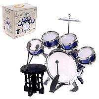 Барабанная установка 'Басист', 5 барабанов, тарелка, палочки, стульчик, педаль, МИКС