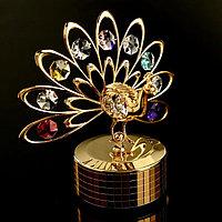 Музыкальный сувенир с кристаллами Swarovski 'Павлин' золото 13,3х13,1 см