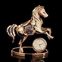 Сувенир с кристаллами Swarovski 'Пони с часами' золото 8,5х8,3 см