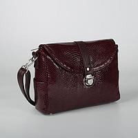 Сумка женская, отдел на клапане, наружный карман, регулируемый ремень, цвет бордовый