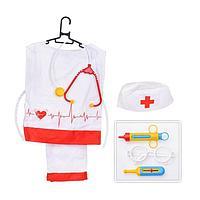 Игровой набор 'Медик' штаны, накидка, колпак, стетоскоп, очки, шприц, градусник