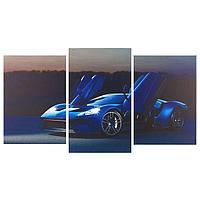 Картина модульная на подрамнике 'Синяя машина' 2шт-31х44 1-31х52 70*105 см